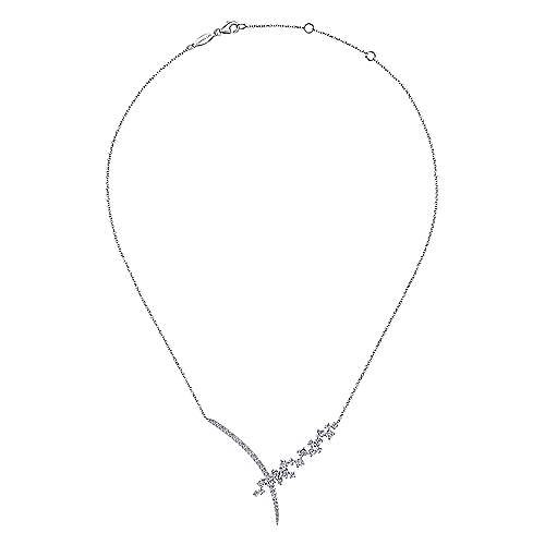 18k White Gold Waterfall Fashion Necklace angle 2