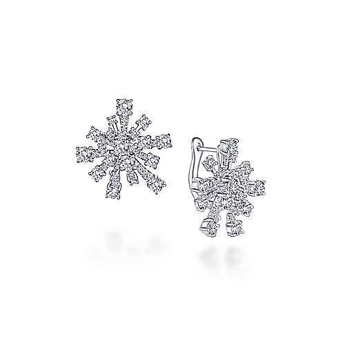 18k White Gold Waterfall Huggie Earrings