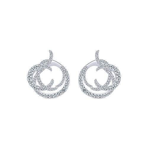 18k White Gold Waterfall Intricate Hoop Earrings angle 1