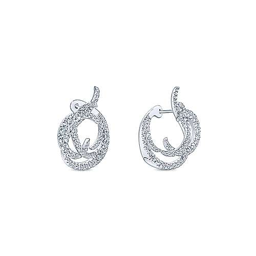 18k White Gold Waterfall Intricate Hoop Earrings angle 3