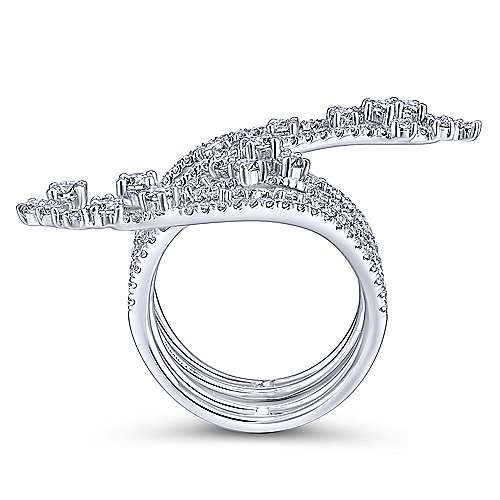 18k White Gold Waterfall Statement Ladies' Ring angle 2