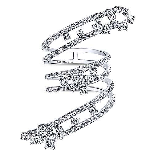 18k White Gold Waterfall Statement Ladies' Ring angle 4