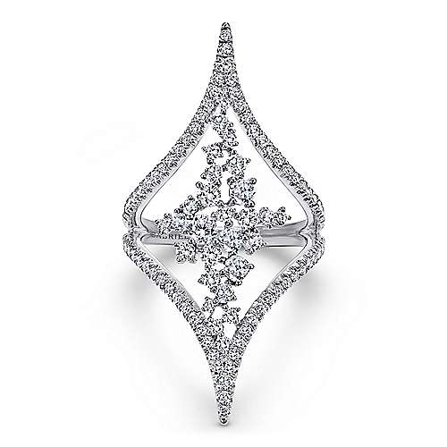 18k White Gold Waterfall Statement Ladies' Ring angle 1