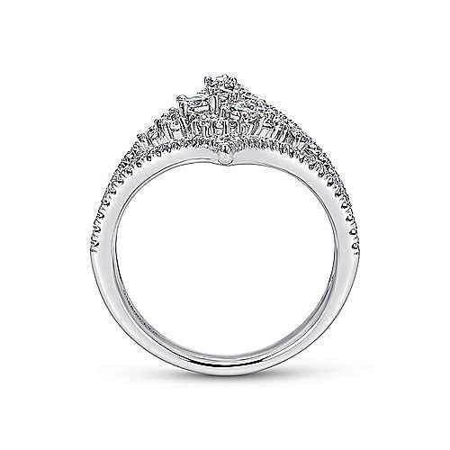 18k White Gold Waterfall Statement Ladies' Ring angle 2
