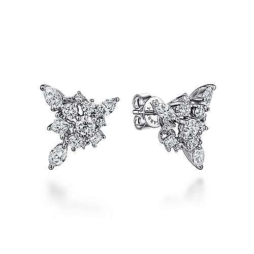 18k White Gold Waterfall Stud Earrings angle 1