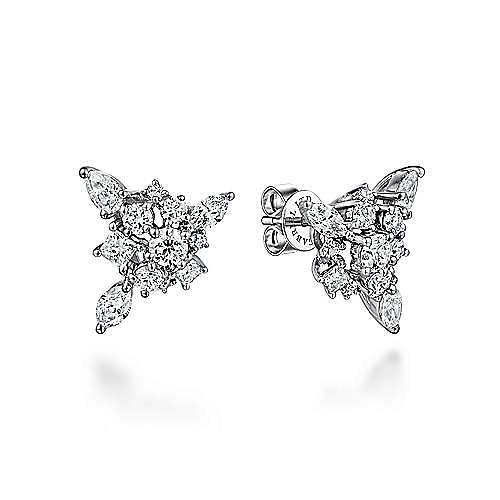 Gabriel - 18k White Gold Waterfall Stud Earrings