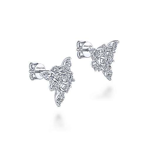 18k White Gold Waterfall Stud Earrings angle 2