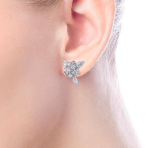 18k White Gold Waterfall Stud Earrings angle 4