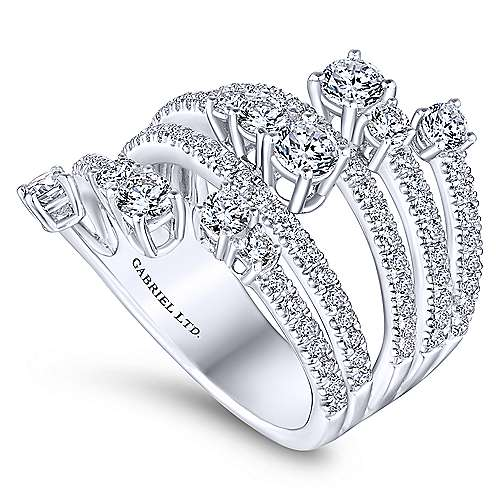 18k White Gold Waterfall Wide Band Ladies' Ring angle 3