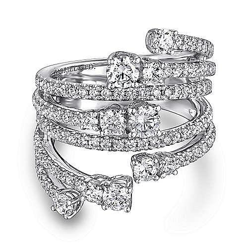 Gabriel - 18k White Gold Wide Band Pave Diamond Ring