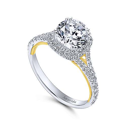 18k White-Yellow Gold Cushion Double Halo Round Diamond Engagement Ring