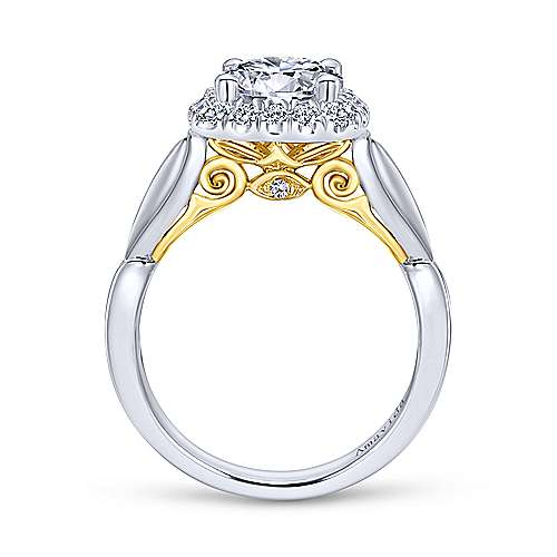 18k White-Yellow Gold Cushion Halo Round Diamond Engagement Ring