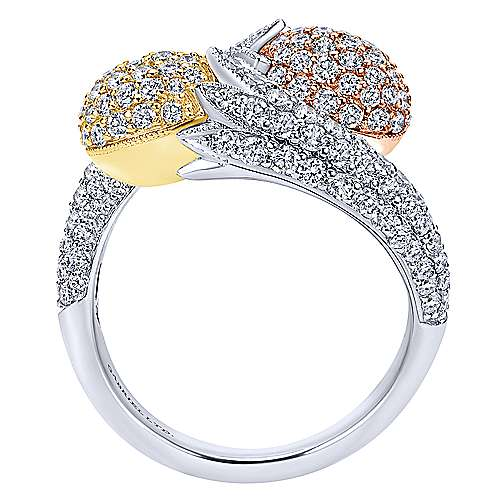 18k Yellow And White And Rose Gold Silk Fashion Ladies' Ring angle 2