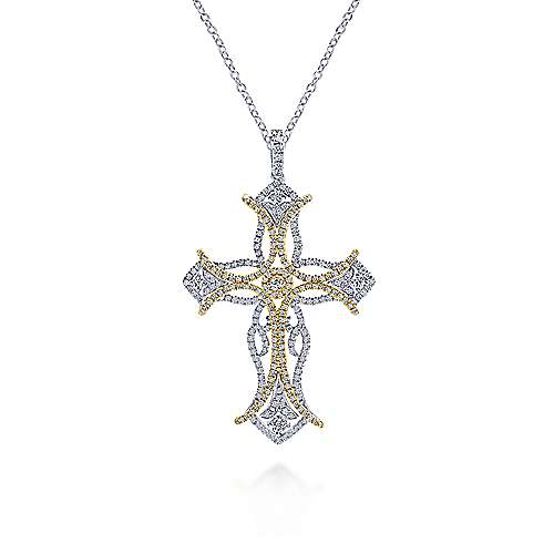 18k Yellow And White Gold Faith Cross Cross Pendant