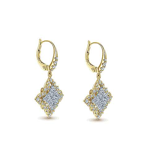 18k Yellow And White Gold Mediterranean Drop Earrings angle 2