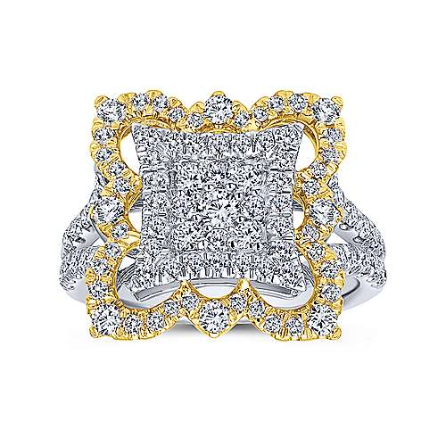 18k Yellow And White Gold Mediterranean Fashion Ladies' Ring angle 4