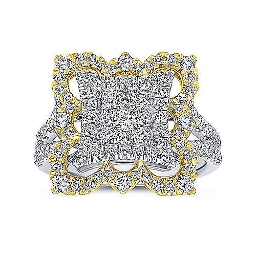 18k Yellow And White Gold Mediterranean Fashion Ladies' Ring angle 4