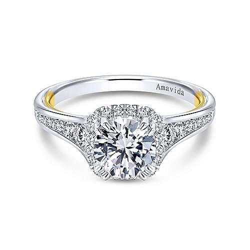 18k Yellow And White Gold Round Halo Engagement Ring angle 1