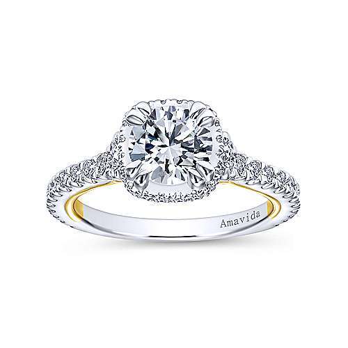 18k Yellow And White Gold Round Halo Engagement Ring angle 5