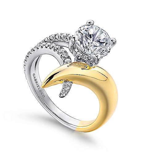 18k Yellow And White Gold Round Split Shank Engagement Ring angle 3