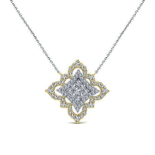 18k Yellow And White Gold Victorian Fashion Necklace