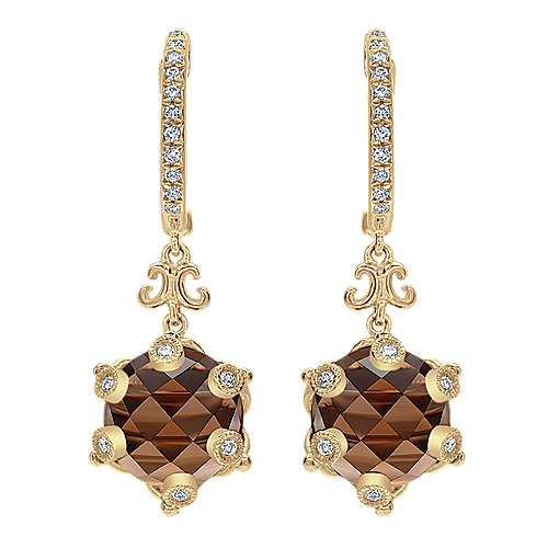 18k Yellow Gold Mediterranean Drop Earrings angle 1