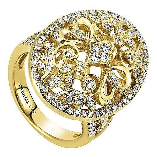 18k Yellow Gold Mediterranean Fashion Ladies' Ring angle 3