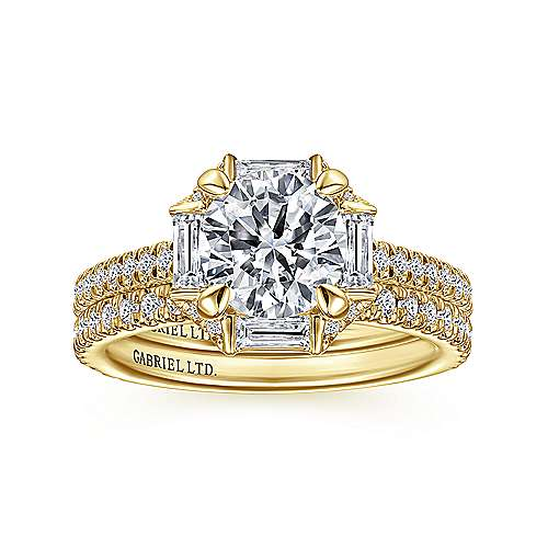 18k Yellow Gold Octagonal Halo Round Diamond Engagement Ring