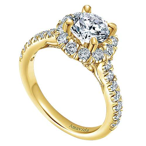 18k Yellow Gold Round Halo Engagement Ring angle 3