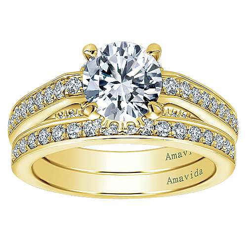 18k Yellow Gold Round Halo Engagement Ring