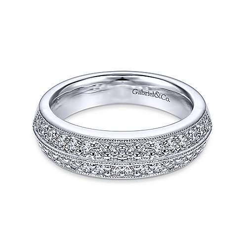 2 Row Platinum Prong Channel Diamond Anniversary Band with Millgrain