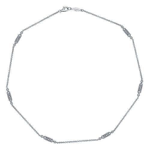 20inch 14K White Gold Diamond Station Necklace angle 2