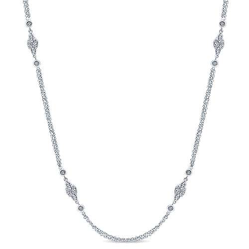20inch 14K White Gold Diamond Station Necklace angle 1