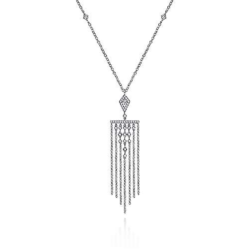 24 inch 14K White Gold Fringe Diamond Pendant Necklace