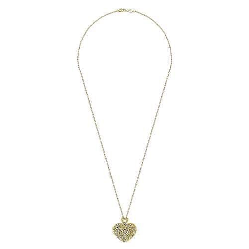 24 inch Vintage Inspired 14K Yellow Gold Heart Shaped Filigree Diamond Locket Necklace