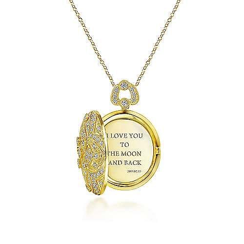 24 inch Vintage Inspired 14K Yellow Gold Round Filigree Diamond Locket Necklace