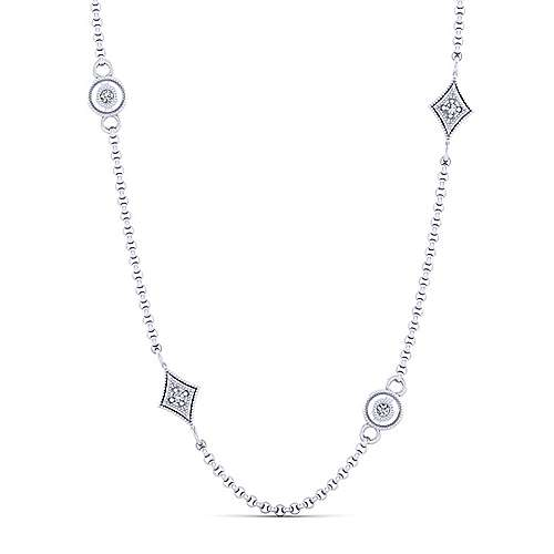 Gabriel - 24inch 14K White Gold Diamond Station Necklace