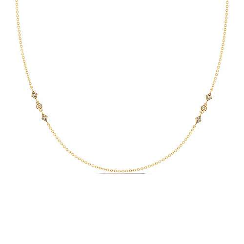 Gabriel - 24inch 14K Yellow Gold Diamond Station Necklace