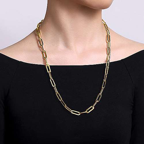24inch 14K Yellow Gold Paperclip Necklace