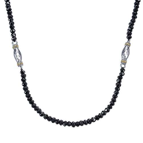 24inch 925 Silver/18K Yellow Gold Black Spinal Station Necklace angle 1