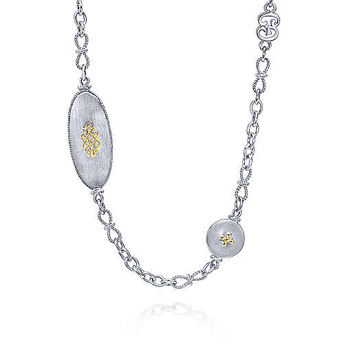 Gabriel - 24inch 925 Silver/18K Yellow Gold Multi Color Station Necklace