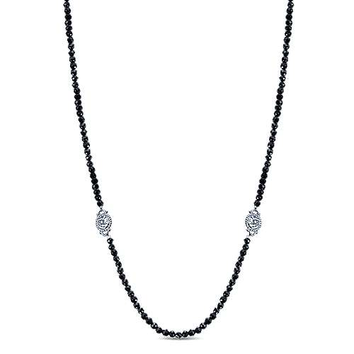 24inch 925 Silver Black Spinal Station Necklace angle 1