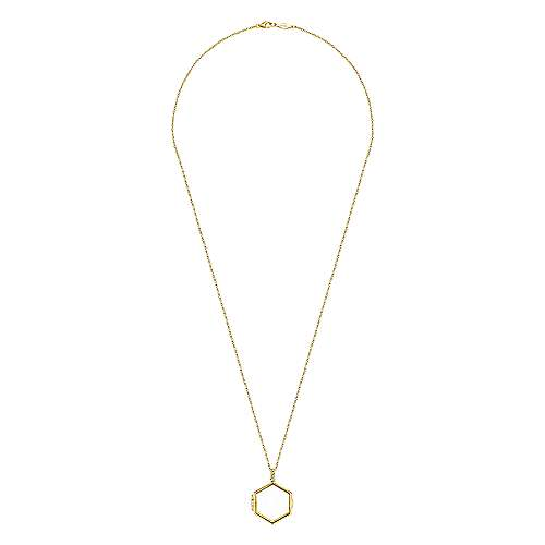 25 inch 14K Yellow Gold Hexagonal Glass Front Locket Necklace