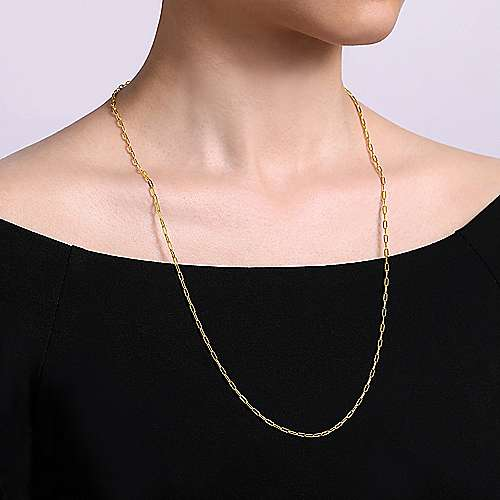 26 inch 14K Yellow Gold Hollow Paperclip Necklace