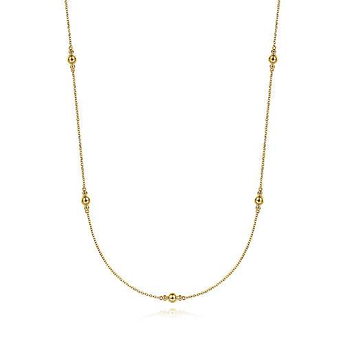 28 inch 14K Yellow Gold Bujukan Bead Station Necklace