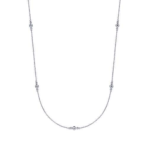 28 inch 925 Sterling Silver Beaded Necklace