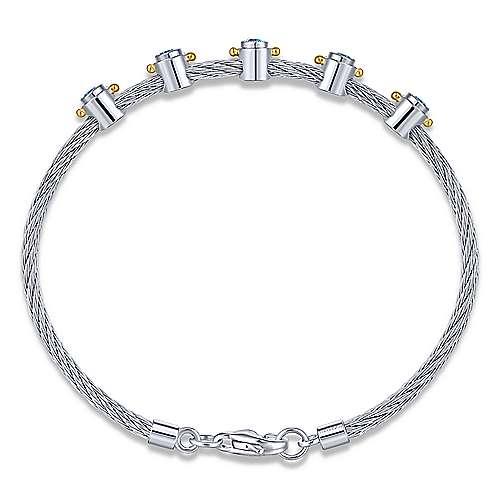 3 Or More Metals Mixed Steel My Heart Bangle Bracelet angle 3