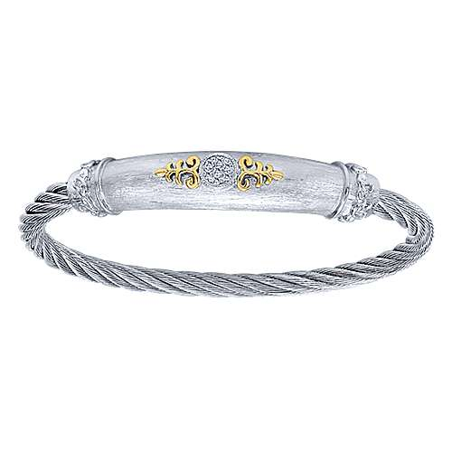 3 Or More Metals Mixed Steel My Heart Twisted Cable Bangle angle 1