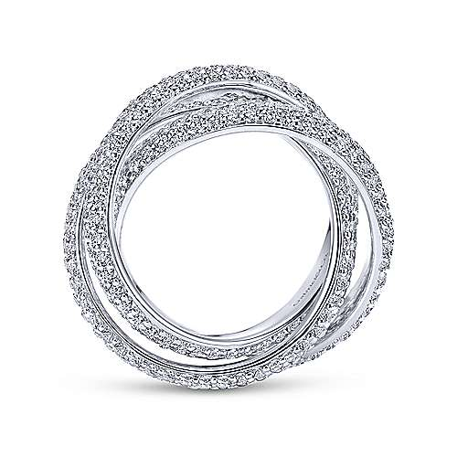 3 Row 14K White Gold Intersecting Pave Diamond Eternity Band