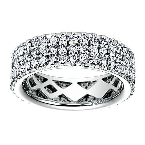 3 Row 14K White Gold Pavé Diamond Eternity Band
